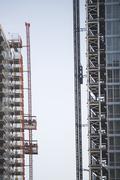 USA, New York City, Modern office blocks under construction - stock photo