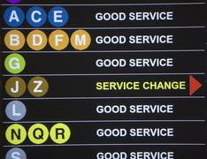 USA, New York City, Underground service information board - stock photo