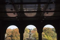 USA, New York City, Central Park, Bethesda Fountain with angel statue as seen Stock Photos