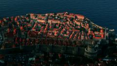 Sunrise over old stone city walls of Dubrovnik Stock Footage