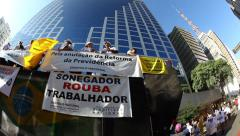 People protest against corruption, poverty, cost of living, Sao Paulo, Brazil Stock Footage
