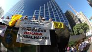 Stock Video Footage of People protest against corruption, poverty, cost of living, Sao Paulo, Brazil