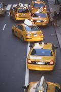 USA, New York City, Manhattan, Yellow cabs on 42nd street - stock photo