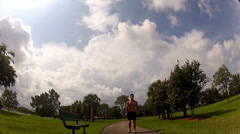 HD: man stretching outdoors - lunge Stock Footage