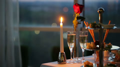 Romantic Evening in Cafe Stock Footage