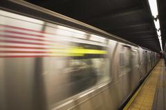 USA, New York State, New York City, blurred motion of subway train - stock photo