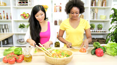 Healthy Multi Ethnic Girl Friends Fresh Organic Produce - stock footage