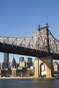 USA, New York State, New York City, bridge with Manhattan in background Stock Photos