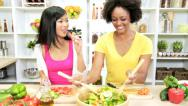 Stock Video Footage of Healthy Multi Ethnic Girl Friends Fresh Organic Produce