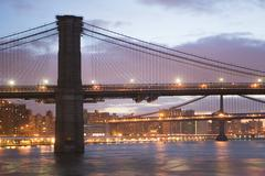 USA, New York State, New York City, Brooklyn Bridge at dusk - stock photo