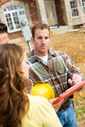 Construction: contractor ready to review checklist Stock Photos