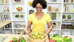 Healthy Living Ethnic Female Fresh Vegetarian Food - stock footage