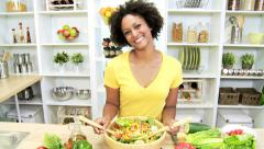 Ethnic Girl Kitchen Preparing Healthy Lunch Stock Footage