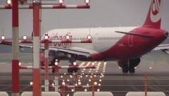 Air Berlin lining up on runway Stock Footage