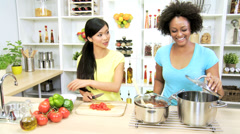 Multi Ethnic Females Kitchen Fresh Market Vegetables Stock Footage