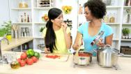Stock Video Footage of Healthy Living Ethnic Females Fresh Vegetarian Food
