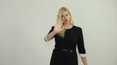 Serious business woman rejecting Stock Footage
