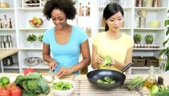 Healthy Asian Chinese African American Females Fresh Organic Produce Stock Footage