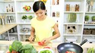 Stock Video Footage of Healthy Asian Chinese Female Fresh Organic Produce