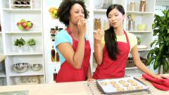 Young Girlfriends Baking Together Home Kitchen - stock footage