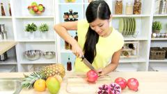 Young Ethnic Female Kitchen Fresh Organic Fruit - stock footage