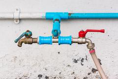 Tab water valves with hose Stock Photos