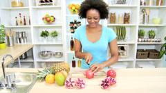African American Girl Organic Fruit Healthy Living - stock footage
