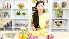 Asian Chinese Girl Preparing Healthy Lifestyle Fruit Stock Footage