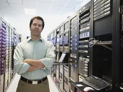 Man working in data center Stock Photos