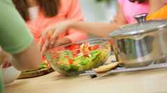 Caucasian Children Parents Home Kitchen Hands Only Stock Footage
