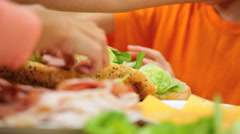 Healthy Caucasian Family Baguette Salad Hands Close Up - stock footage