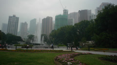 Hong Kong Park with fountain Stock Footage