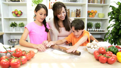Young Caucasian Children Mother Home Kitchen Pizza Stock Footage