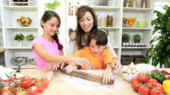 Healthy Caucasian Mother Children Cooking Home Kitchen Stock Footage