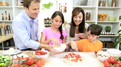 Happy Caucasian Family Group Making Pizza Home Kitchen Stock Footage