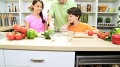 Young Caucasian Father Children Organic Salad Vegetables Stock Footage