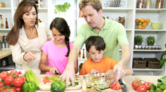 Caucasian Family Preparing Organic Salad Dinner - stock footage