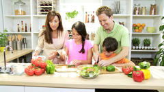 Healthy Professional Caucasian Family Cooking Home Kitchen Stock Footage