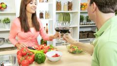 Relaxed Caucasian Couple Preparing Healthy Dinner Stock Footage