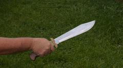 Taliban huge big machete folding knife Stock Footage