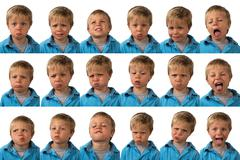 Expressions - Five Year Old Boy - stock photo