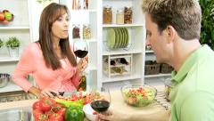 Caucasian Couple Glass Red Wine Before Dinner Stock Footage