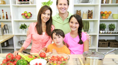 Portrait Happy Caucasian Family Home Kitchen - stock footage