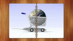 World in Cart, e-commerce Concept, Loop Stock Footage