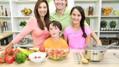 Healthy Caucasian Family Group Home Kitchen Portrait Stock Footage