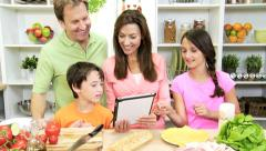 Healthy Caucasian Family Kitchen Baguette Salad - stock footage