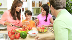 Healthy Caucasian Family Cooking Home Kitchen Stock Footage