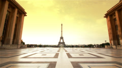 Eiffel Tower and Trocadero Paris Stock Footage