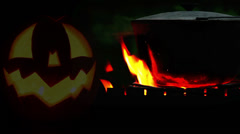 Halloween Pot on the campfire footage Stock Footage