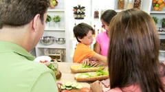 Caucasian Family Preparing Healthy Lifestyle Lunch Stock Footage